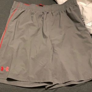 2pair, Red Nike DriFit & Gray Under Armour shorts